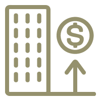 High rise building icon with an upward arrow pointing to a dollar sign