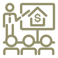 Icon of a group of people watching a presentation of a house with a dollar sign