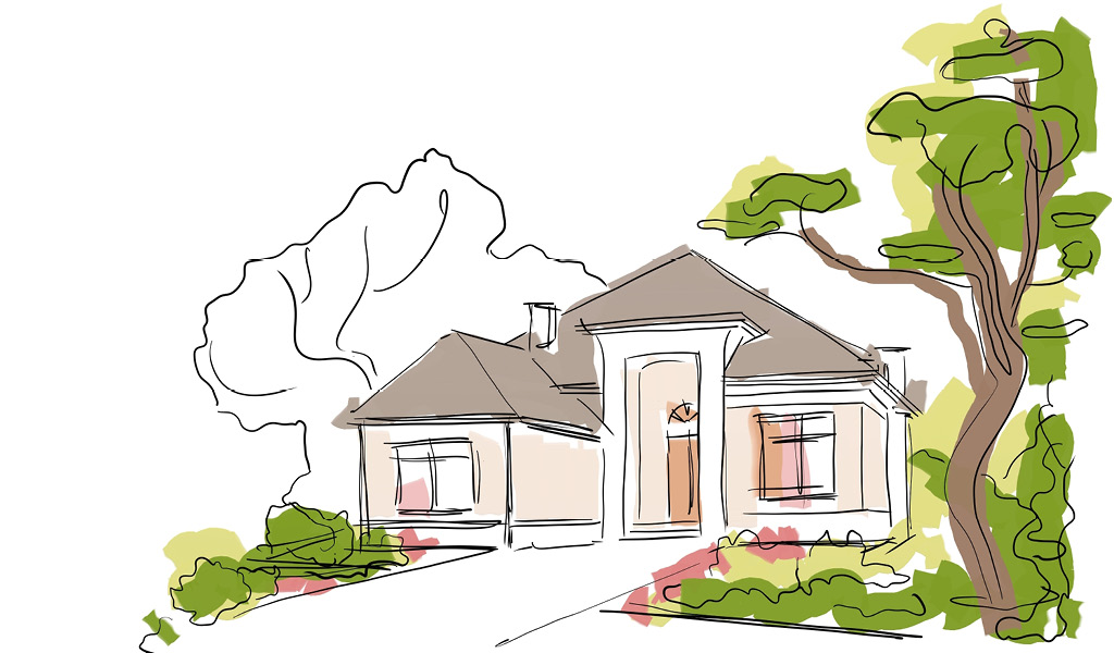 Rendering of a home with trees around it